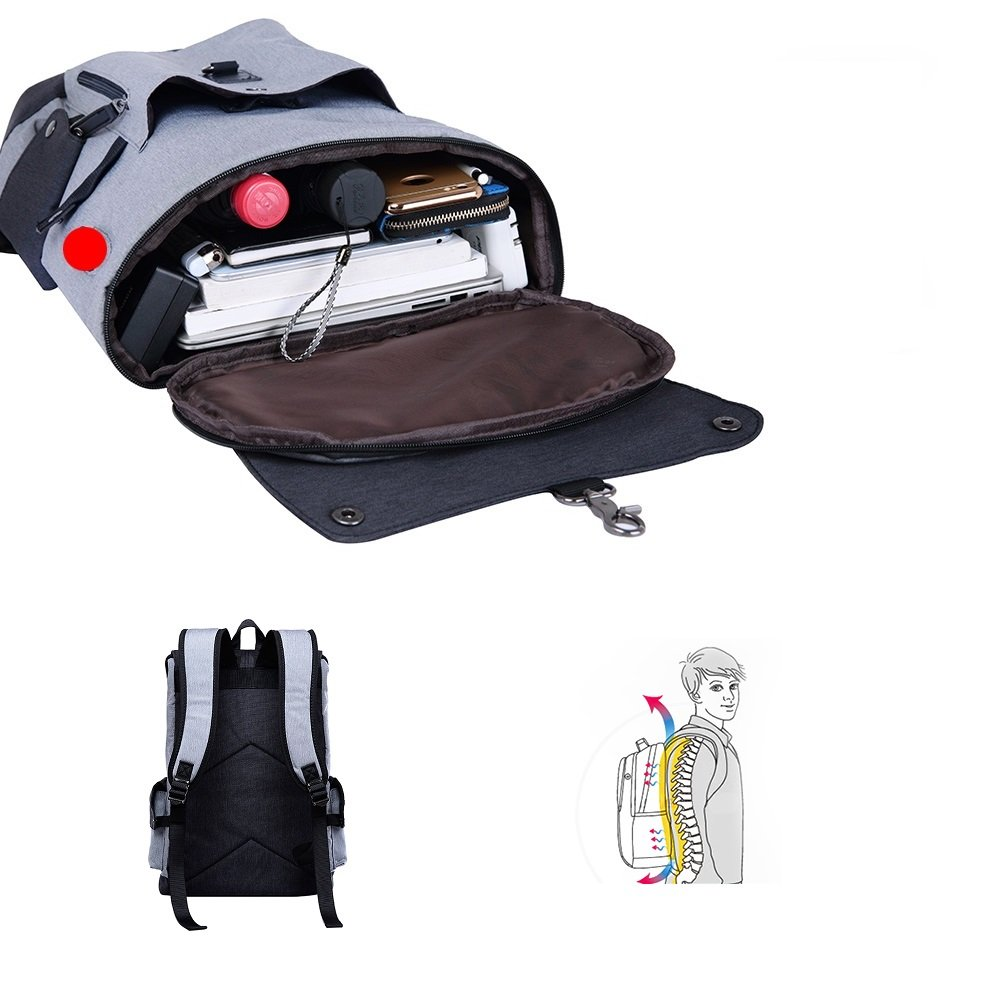 Business Laptop Backpack, Slim Anti Theft Computer Bag, Water-resistent College School Backpack, Eco-friendly Travel Shoulder Bag / USB Charging Port Fits UNDER 15.6 Inch Laptop & Notebook (Black) by damo (Image #5)