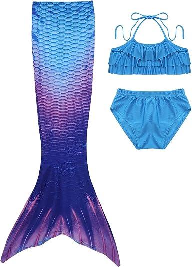 YiZYiF Disfraz Sirenita Niñas Traje de Baño Bikinis con Cola de ...