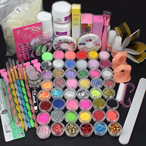 Anshinto 42 Acrylic Nail Art Tips Powder Liquid Brush Glitter Clipper Primer File Set Kit DIY