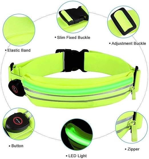 para Ciclismo en Azul kwmobile Ri/ñonera Deportiva con luz LED Ri/ñonera Recargable con Cable microUSB Cintur/ón Deportivo con Bolsillo