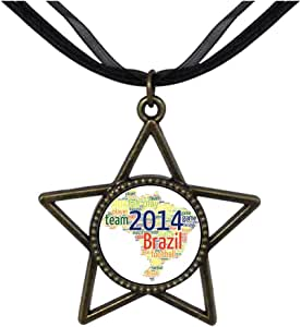 Chicforest Bronze Retro Style Team 2014 Game Brazil World Cup Five Pointed Star Pendant