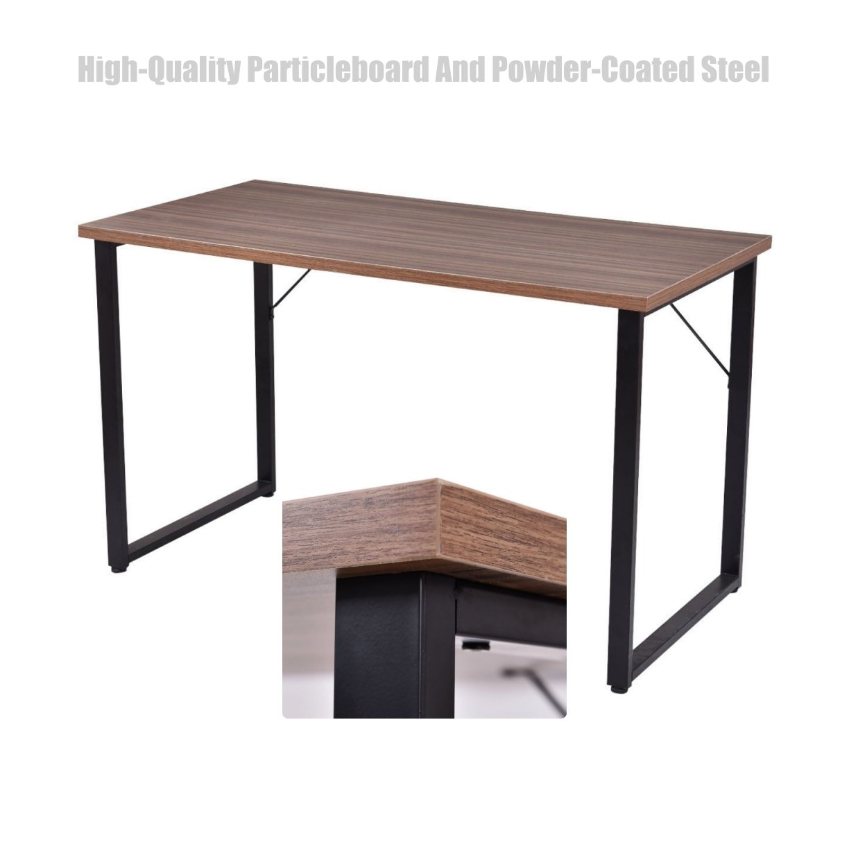 Amazon com laptop computer desk full size workstation solid particleboard powder coated steel frame space saving design home office furniture wood black