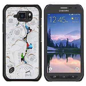 Caucho caso de Shell duro de la cubierta de accesorios de protección BY RAYDREAMMM - Samsung Galaxy S6Active Active G890A - Escribir mono Dibujo Infantil ilustraciones
