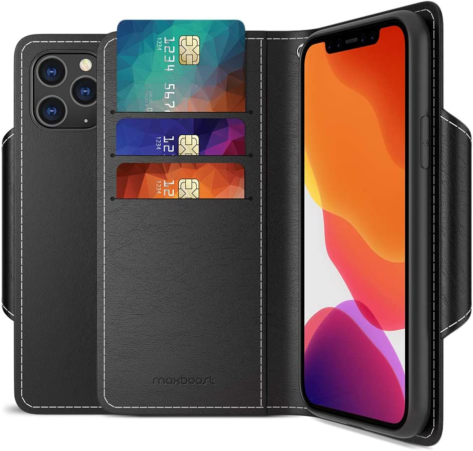Maxboost mWallet Designed for Apple iPhone 11 Pro Case (2019, 5.8-inch) [Folio Cover] Premium Leather Credit Card Wallet Holder Compatible iPhone 11 Pro Flip Cover/Side Pocket Magnetic Closure - Black