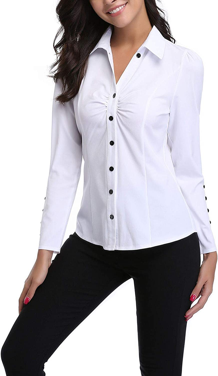 MISS MOLY Womens Formal V Neck Long Sleeve Blouse Top