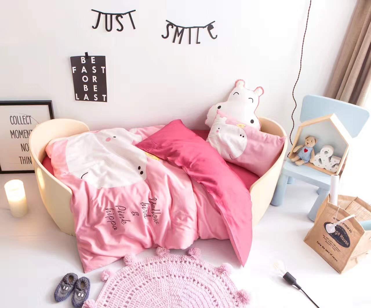 CSYP カバ動物女の子シングルキルト布団カバー&枕カバー寝具ベッドセット新しい (Size : M) B07Q57DMN1