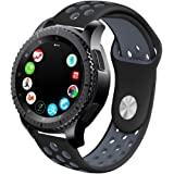 Compatible With Samsung Gear S3 Frontier/Galaxy Watch 46mm Bands and Moto 360 2nd Gen 46mm Watch Band,22mm Silicone Breathable Replacement Strap Quick-release Pin for Galaxy Watch 46mm Smart Watch (Black-Grey)