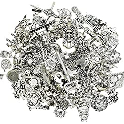Wholesale Jewelry Making Silver Charms - EyreLife Bulk Tibetan Silver Mix Pendants, Charms, Buttons, Beads, Spacers and Jewelry Findings for Jewelry Making Bracelets, Necklaces (100Pcs, Assorted)