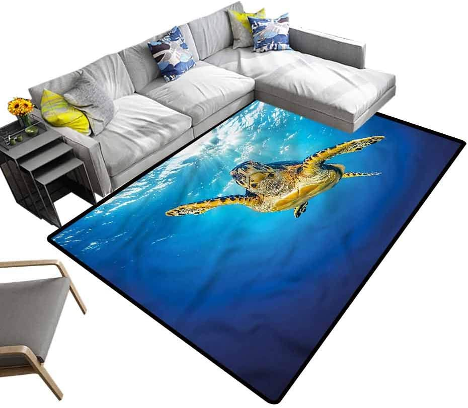 Turtle, Nursery Area Rug Blue Waters Swimming Modern Indoor Home Living Room Floor Carpet Machine Washable, 5'x 7'