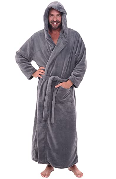 5b164e197b Del Rossa Men s Fleece Full Length Hooded Bathrobe Robe