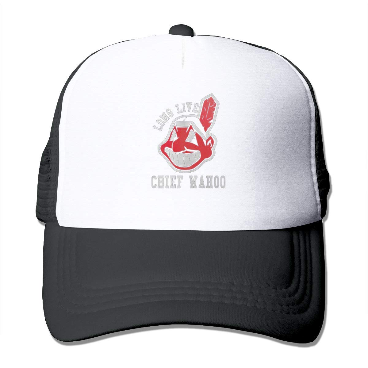 Classic Baseball Cap,Long-Live-Chief-Wahoo Adjustable Two Tone Cotton Twill Mesh Back Trucker Hats Black