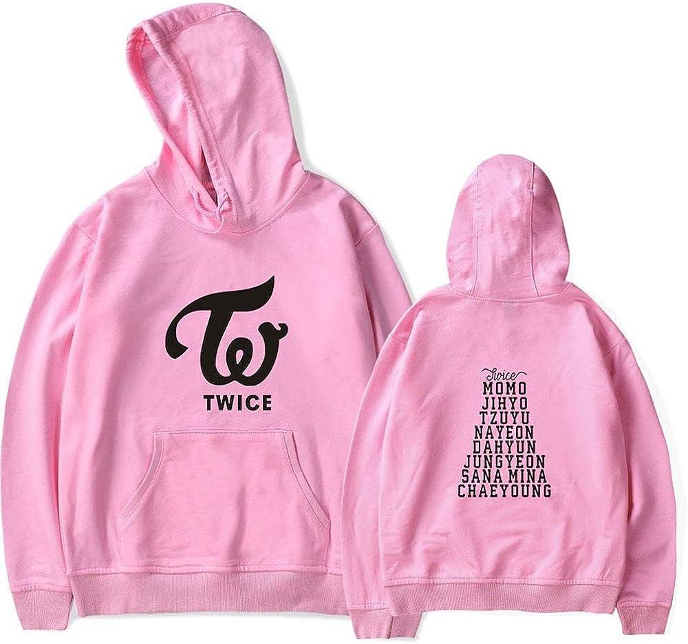 KPOP Twice Bedrucken Kapuzenpullover Freizeit Warmer Pullover Langarm Hoodies Sweatshirts Loose Sweater Tops f/ür Fan NA YEON JUNG YEON MOMO SANA JI Hyo MINA DAHYUN CHAE Young TZUYU