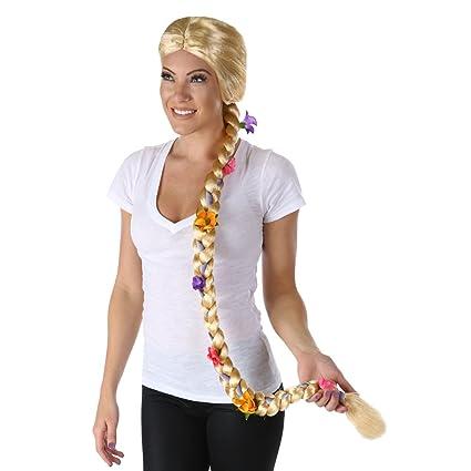 Largo rubio trenzado flor peluca de Rapunzel para mujer enredada Fairytale adulto