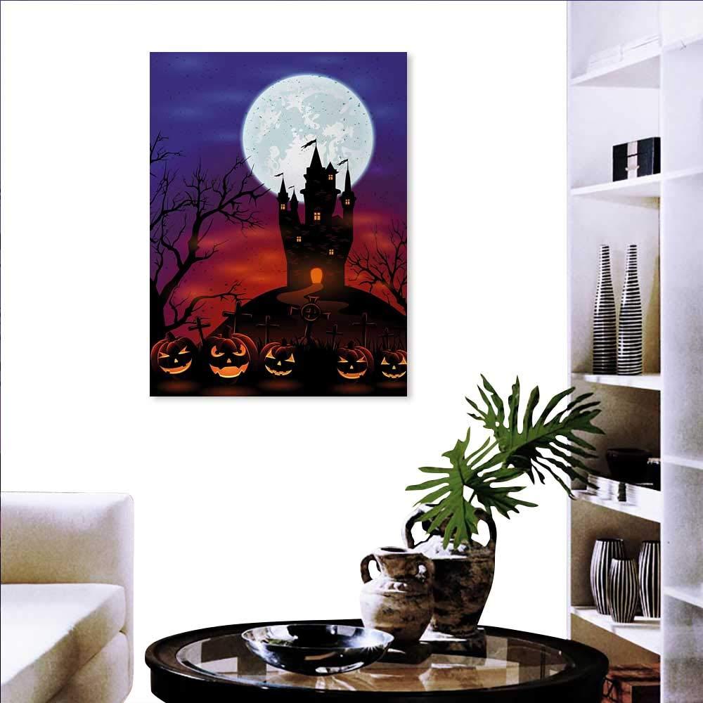 ハロウィン ウォールデコレーション キュート 猫 ランタン 花柄 フィールドに月 星空 星 カートゥーン アート カスタマイズ可能 ウォールステッカー ブルー ブラック 32