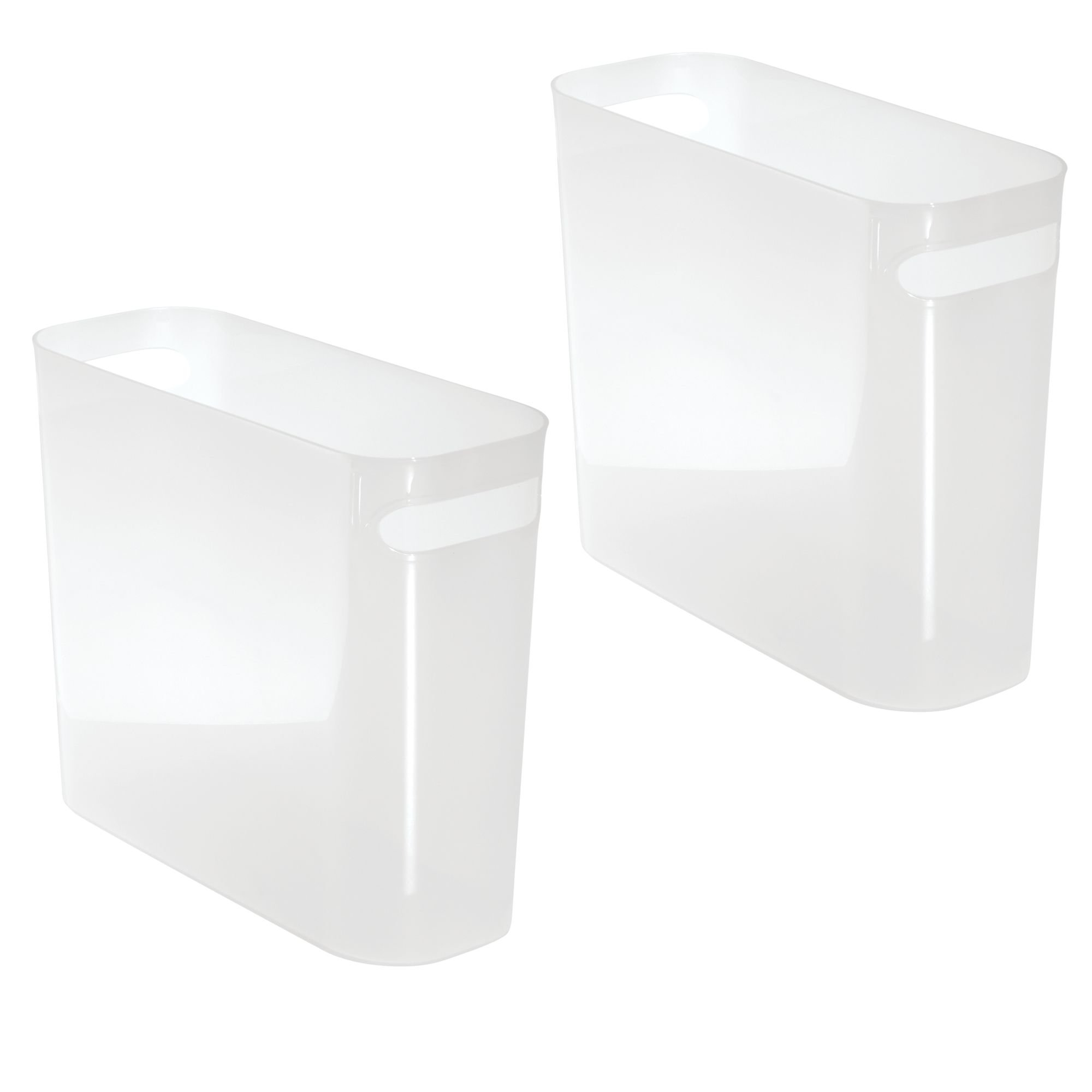 mDesign Slim Plastic Rectangular Small Trash Can Wastebasket, Garbage Container Bin with Handles for Bathroom, Kitchen, Home Office, Dorm, Kids Room - 10'' high, Shatter-Resistant, 2 Pack - Frost by mDesign