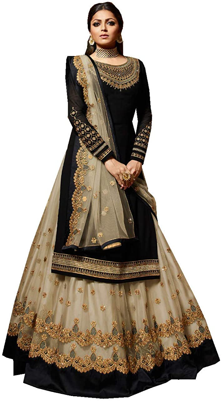 Amazon Com Delisa New Indian Pakistani Eid Special Party Ethnic Wear Georgette Straight Ghagra Style Salwar For Womens Ltt Clothing