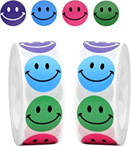 Udefineit 1000PCS 4 Colors Smiley Face Stickers, Self Adhesive Happy Smiling Face Circle Labels, Classic Smile Round Stickers for DIY Projects, Parperwork Crafts, Party Favors