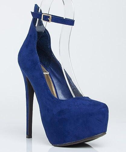 dfe5026f462 Breckelle Marisa-34 Almond Toe Ankle Strap Vegan Suede Platform Pump NAVY  BLUE (9