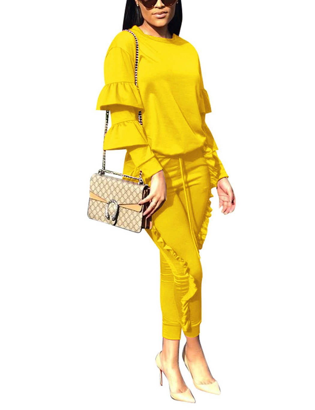 Women 2 Pieces Outfits Puff Sleeve Top and Long Flounced Pants Sweatsuits Set Tracksuits Yellow Medium