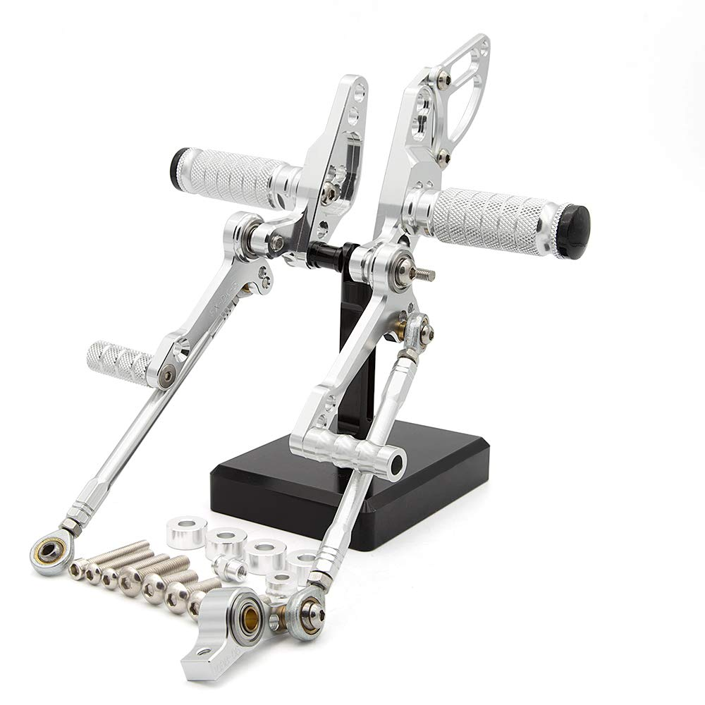 FXCNC Racing Billet Motorcycle Rearset Foot Pegs Rear Set Footrests Fully Adjustable Foot Boards Fit For Ducati STREETFIGHTER 848 1100 Silver