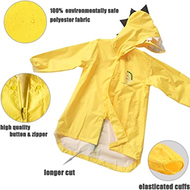 enbihouse Kids Raincoat Bambini Rain Jacket Rain Impermeabile Rain Poncho Rain Cape Wear Rain Cute Unisex Storm Break Rain Slicker per Boys Girls