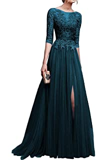 3f346ffcec8 Lily Wedding Womens 3 4 Sleeve Lace Tulle Prom Dress Long Aline Evening  Dresses with