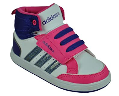 ADIDAS NEO HOOPS MID CMF KINDERSCHUHE BABY SCHUHE F97857 WEISS PINK LILA 22 27