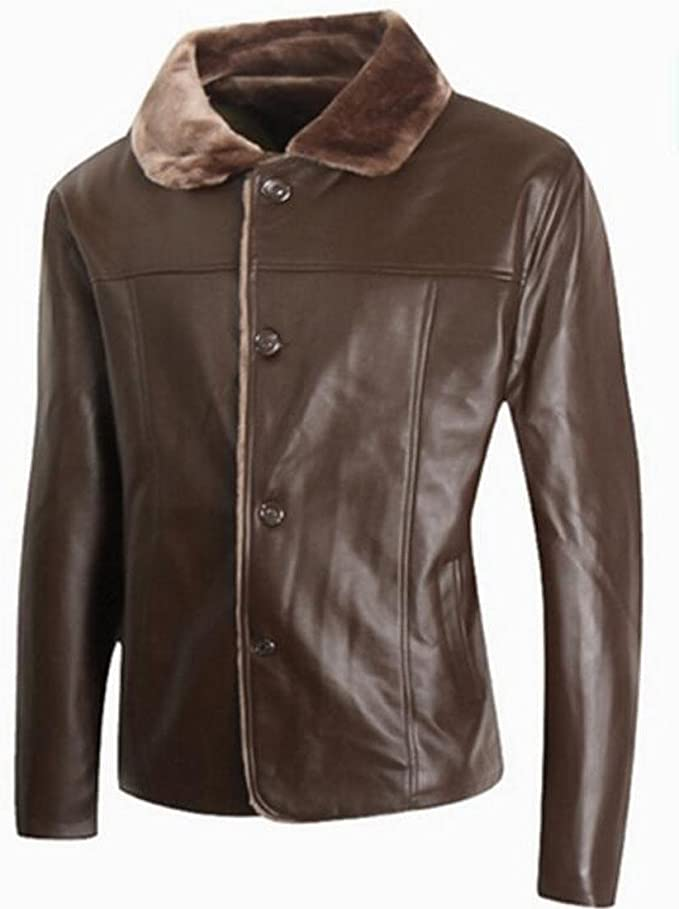 Ptyhk RG Mens Faux Fur Collar Long Sleeve Button Up Leather Jacket