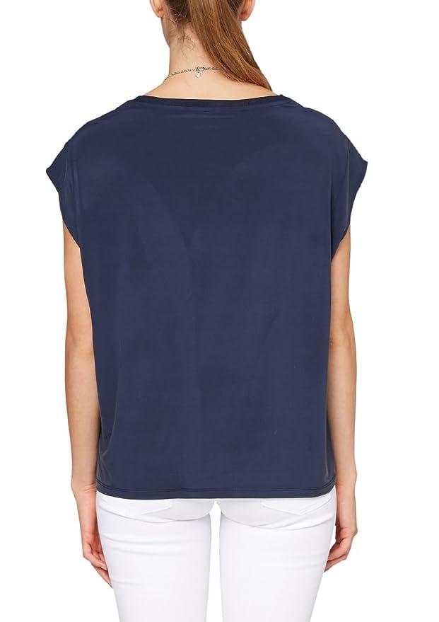 s.Oliver Damen T-Shirt 14.504.32.2289, Einfarbig, Gr. 34, Blau (Eclipse  Blue 5884): Amazon.de: Bekleidung