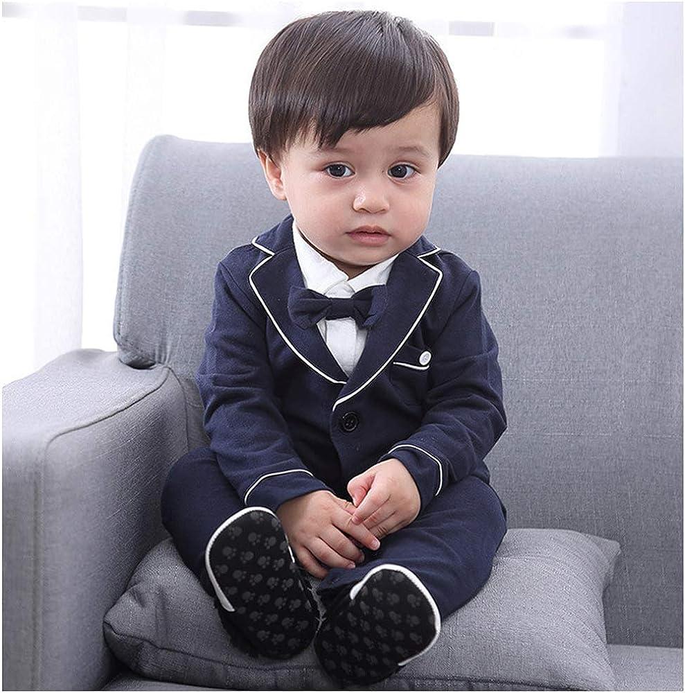 933f0859c624 cool elves - Set de 2 Mono Ropa de Bautizo para Bebés de 3-18 Meses  Mameluco Largo con Chaqueta de Vestir con Pajarita Lindo - Negro Azul Marino
