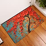 FANNEE Red Flowers Modern Floral Doormat with Duty PVC Backing - Perfect Color/sizing for Outdoor/Indoor Uses
