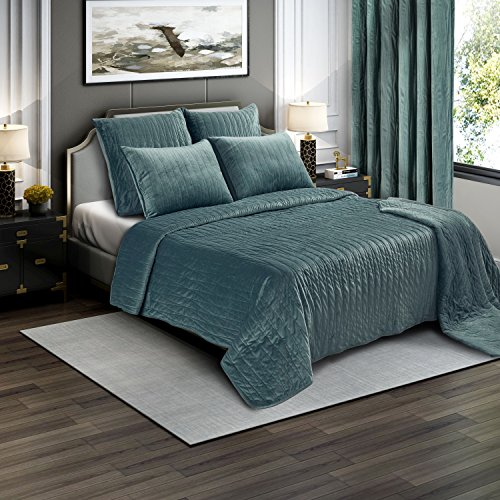 Brielle Premium Heavy Velvet Quilt Set with Cotton Backing, King, Seafoam by Brielle