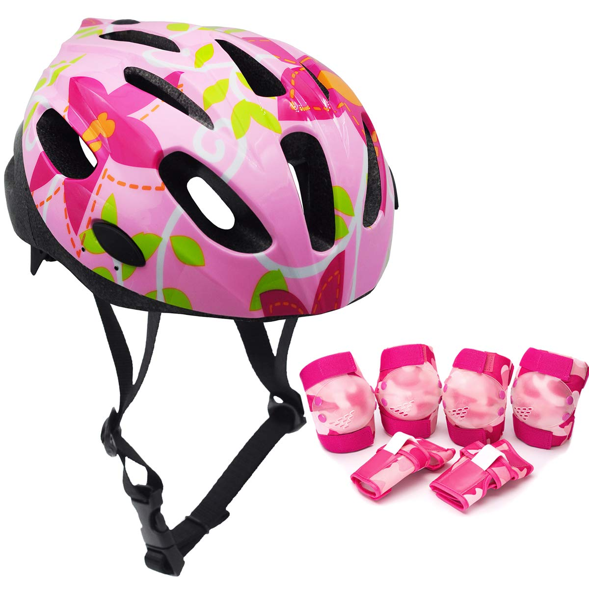 BeBeFun Safety Adjustable Size Kids Babies Bike Multi-Sports Helmet for Boy 3-7 Years Old Lighting Theme (Pink and 6pcs Pads)