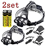 Shinetool 2 set of LED Headlamp High Lumen Headlights 6 Modes 5 LEDs Lightweight Headlights included 2 Headlamp 4 18650 Battery 2 Direct Charger and 2 Car Charger for Climbing