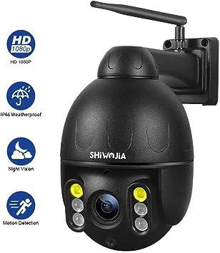Opinión sobre PTZ IP Domo Cámara Exterior, SHIWOJIA 1080P HD Cámara de Vigilancia, Impermeable IP66 con HD Visión Nocturna, Audio Bidireccional, Detección de Movimiento