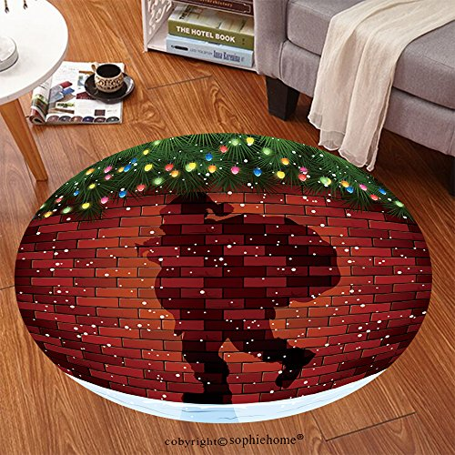 Sophiehome Soft Carpet 345531014 Christmas background with Shadow of Santa, fir tree branches and light bulbs on a brick wall, illustration Anti-skid Carpet Round 79 ()