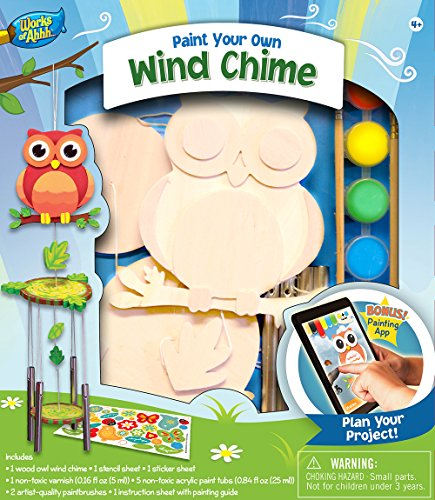 MasterPieces Works of Ahhh Wind Chime with Owl Wood Paint Kit (Garden Craft Kit)