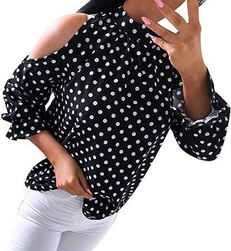 Keepwin ¡Nueva! Blusa y Camisa Mujer Manga Larga Hombro sin Tirantes Imprimiendo Arriba Camisetas Mujer Verano Camisas De Hombro Frío Blusas Tops del Camiseta para Mujer (Negro,M): Amazon.es: Deportes y aire libre