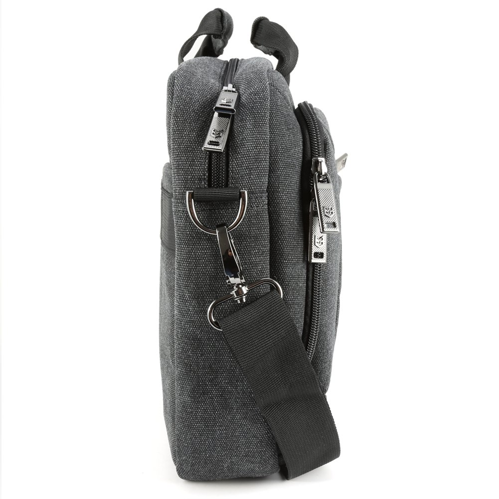 13.3 inch Laptop Messenger Bag, Evecase 13.3'' - 14'' Canvas Messenger Bag - Dark Grey w/Handles, Shoulder Strap for laptops, Samsung ultrabooks, Apple MacBook, Microsoft, Sony Tablet PC by Evecase (Image #8)