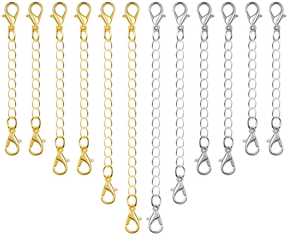 12 Lobster Clasps Clips Sets with Extender Chain End Necklace Jewelry Making