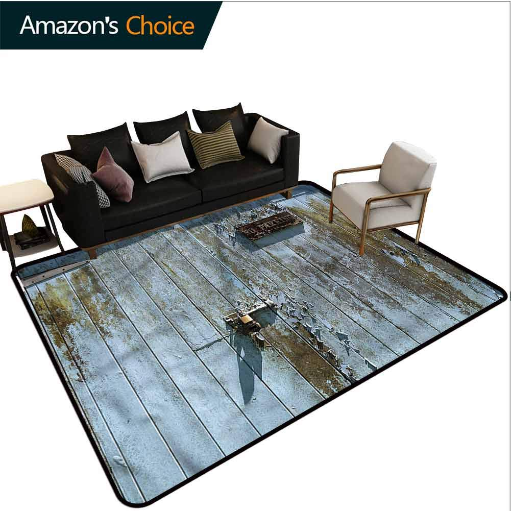 TableCoversHome Industrial Geometric Area Rug Dorm, Grungy Old Rusty Garage Pattern Printing Carpet, Durable Carpet Area Rug - Living Dinning Room Bedroom Rugs and Carpets (2'x 3') by TableCoversHome
