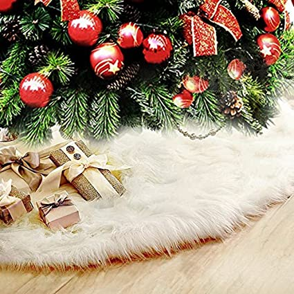 Faux Fur Christmas Tree Skirt With Round Trim Snow White Christmas