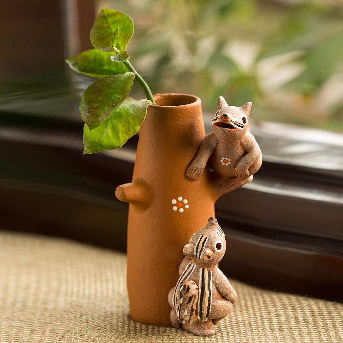 'Climbing Squirrels' Decorative Handmade Terracotta Flower Vase