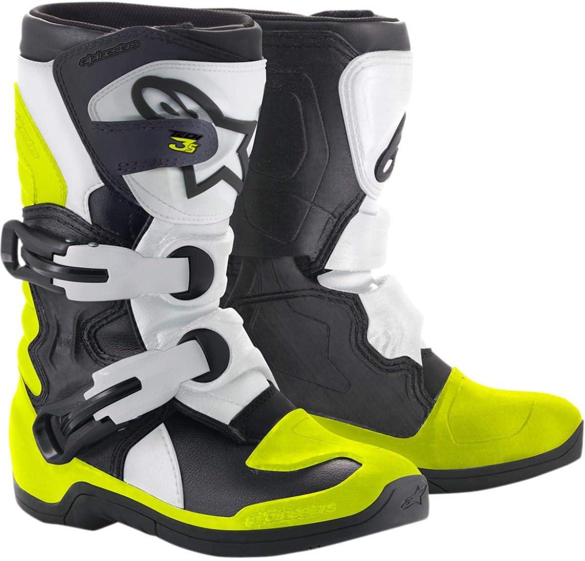 Eu 35.5 // Us 3, Noir Alpinestars Bottes Motocross Enfant Tech 3S Noir Blanc Rouge Fluorescent