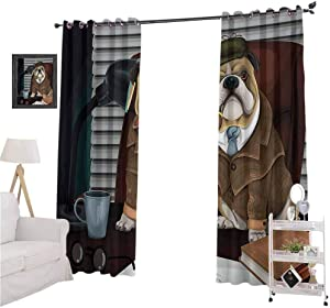 YUAZHOQI English Bulldog Printed Blackout Curtains, Traditional English Detective Dog with a Pipe and Hat Sherlock Holmes Image, 2 Panels W52 x L72 Blackout Curtains for Kitchen