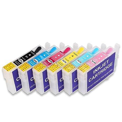 HEMEI Recambio de cartucho de tinta recargable vacío para tinta Epson 79 (T0791-T0796), funciona con Stylus Photo 1400 1500W P506X ...