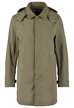 Pier One Rain Coat for Men in Navy Blue or Khaki Green - Waterproof Jacket  with Detachable Hood - Men s Lightweight Parka Long Cagoule  Amazon.co.uk   ... 995eb53dc4