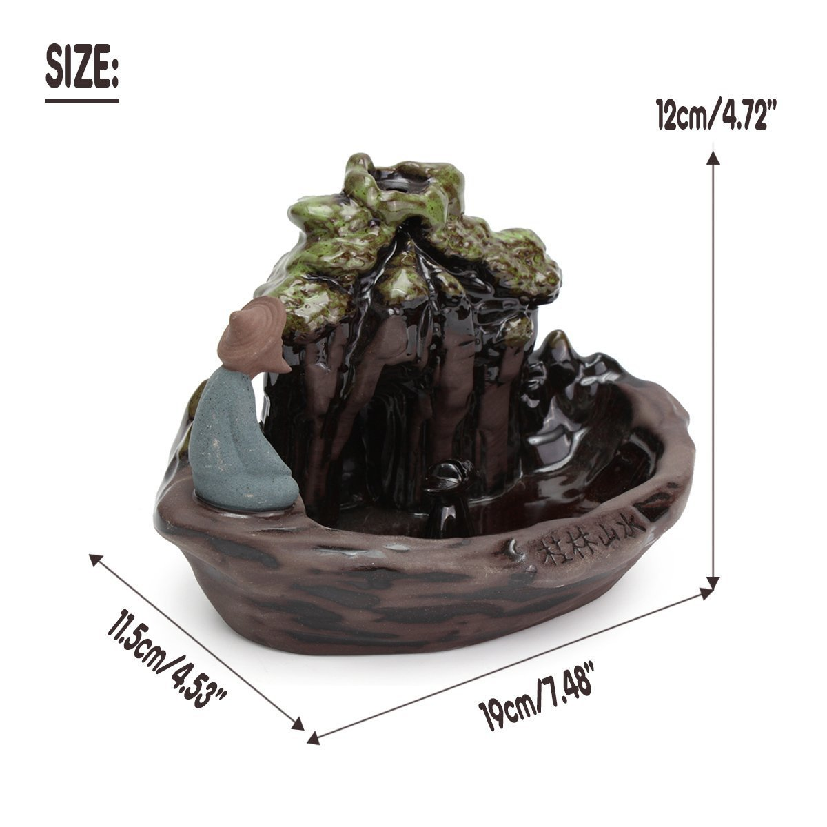 Zen Garden Fisherman Big Ceramic Incense Burner Backflow Incense Burner Holder Set Incense Cones Incense Stick Holder for Home Office Decor 7.5''X4.5''X4.7'' by MAYMII·HOME (Image #6)