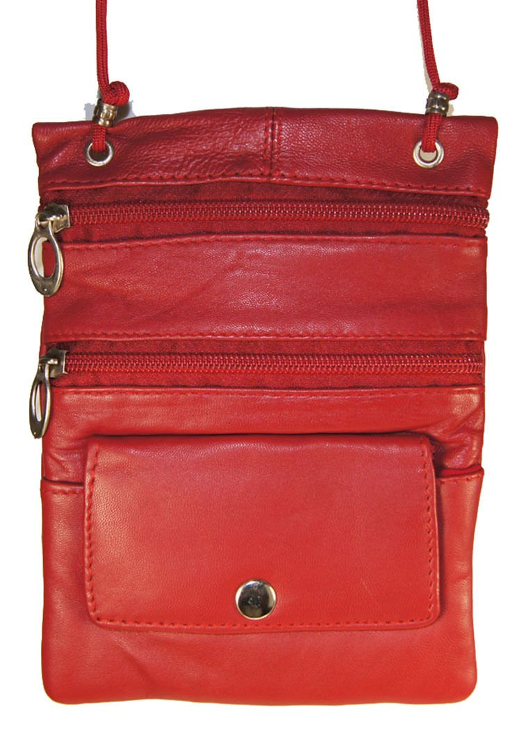Red Genuine Leather Passport Id Documents Holder Neck Travel Pouch Bag by Wallet (Image #2)