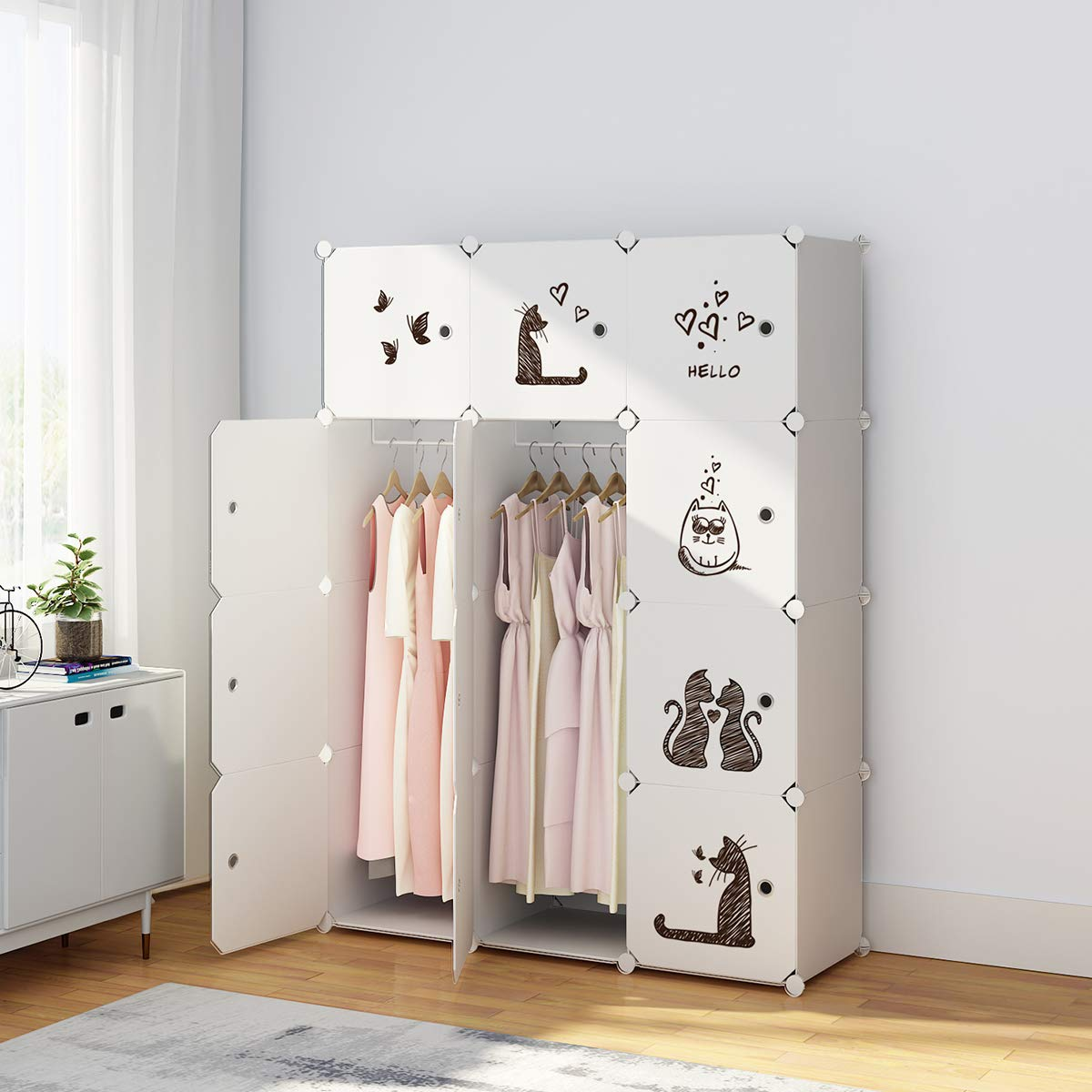 KOUSI Portable Clothes Closet Wardrobe Bedroom Armoire Dresser Cube Storage Organizer, Capacious & Custom-RB-CAT (6 Cubes 2 Hanging Clothes)